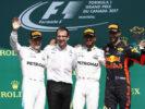 Podium Lewis Hamilton, Valtteri Bottas & Daniel Ricciardo Circuit Gilles Villeneuve, Montreal, Canada. Sunday 11 June 2017.