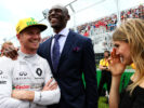 Nico Hulkenberg (GER) Renault Sport F1 Team with Bismack Biyombo, NBA Basketball Player and Eugenie Bouchard (CDN) Tennis Player on the grid. Canadian Grand Prix, Sunday 11th June 2017. Montreal, Canada.