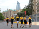 Jolyon Palmer (GBR) Renault Sport F1 Team walks the circuit with the team. Azerbaijan Grand Prix, Thursday 22nd June 2017. Baku City Circuit, Azerbaijan.