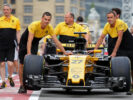 Renault Sport F1 Team RS17 of Nico Hulkenberg (GER) heads to scrutineering. Azerbaijan Grand Prix, Thursday 22nd June 2017. Baku City Circuit, Azerbaijan.