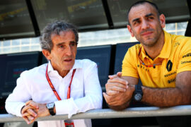 Alain Prost (FRA) Renault Sport F1 Team Special Advisor with Cyril Abiteboul (FRA) Renault Sport F1 Managing Director. Azerbaijan Grand Prix, Saturday 24th June 2017. Baku City Circuit, Azerbaijan.
