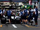 Baku City Circuit, Baku, Azerbaijan. Saturday 24 June 2017. The team recover Lance Stroll, Williams FW40 Mercedes, from the pit lane.