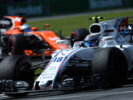 Circuit Gilles Villeneuve, Montreal, Canada. Sunday 11 June 2017. Lance Stroll, Williams FW40 Mercedes, leads Fernando Alonso, McLaren MCL32 Honda.
