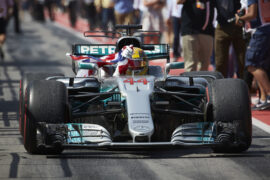Lewis Hamilton arrives at the pit in the Mercedes W08 F1 car