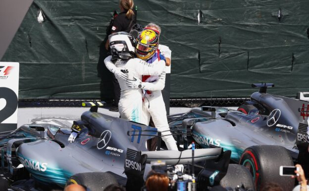 Lewis Hamilton & Valtteri Bottas congratulate each other after their 1-2 finish at the 2017 Canadian GP