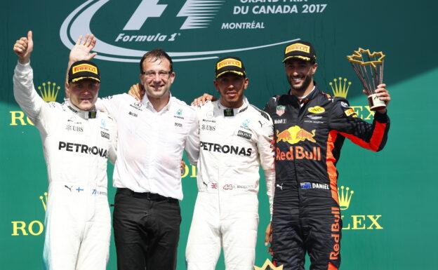 2017 Canadian GP podium: 1. Lewis Hamilton, 2. Valtteri Bottas, 3. Daniel Ricciardo