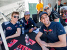 Carlos Sainz of Scuderia Toro Rosso and Spain and Daniil Kvyat of Scuderia Toro Rosso and Russia during previews for the Canadian Formula One Grand Prix at Circuit Gilles Villeneuve on June 8, 2017 in Montreal, Canada.