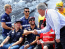 Chase Carey, CEO and Executive Chairman of the Formula One Group shakes hands with Daniel Ricciardo of Australia and Red Bull Racing before the Canadian Formula One Grand Prix at Circuit Gilles Villeneuve on June 11, 2017 in Montreal, Canada.