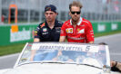 Sebastian Vettel of Germany and Ferrari and Max Verstappen of Netherlands and Red Bull Racing on the drivers parade during the Canadian Formula One Grand Prix at Circuit Gilles Villeneuve on June 11, 2017 in Montreal, Canada.