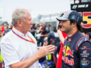 Helmut Marko and Carlos Sainz of Scuderia Toro Rosso and Spain during the Canadian Formula One Grand Prix at Circuit Gilles Villeneuve on June 11, 2017 in Montreal, Canada.