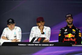 Top three finishers Lewis Hamilton, Valtteri Bottas and Daniel Ricciardo at the press conference