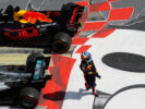 Third place finisher Daniel Ricciardo of Australia and Red Bull Racing walks from his car in parc ferme during the Canadian Formula One Grand Prix at Circuit Gilles Villeneuve on June 11, 2017 in Montreal, Canada.
