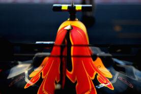 The car of Max Verstappen of Netherlands and Red Bull Racing in the garage during qualifying for the Azerbaijan Formula One Grand Prix at Baku City Circuit on June 24, 2017 in Baku, Azerbaijan.