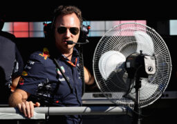 Red Bull Racing Team Principal Christian Horner looks on from the pit wall during qualifying for the Azerbaijan Formula One Grand Prix at Baku City Circuit on June 24, 2017 in Baku, Azerbaijan.