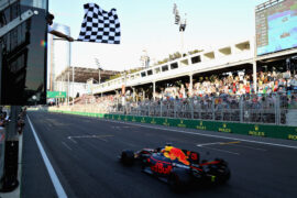 Daniel Ricciardo of Australia driving the (3) Red Bull Racing Red Bull-TAG Heuer RB13 TAG Heuer takes the chequered flag and the win during the Azerbaijan Formula One Grand Prix at Baku City Circuit on June 25, 2017 in Baku, Azerbaijan.