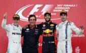 2017 Azerbaijan Podium: 1. Ricciardo, 2. Bottas, 3. Stroll