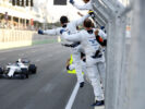Baku City Circuit, Baku, Azerbaijan. Sunday 25 June 2017. The team cheer Lance Stroll, Williams FW40 Mercedes, 3rd Position, over the finish line.