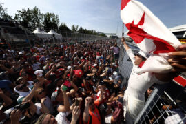 Circuit Gilles Villeneuve, Montreal, Canada. Sunday 11 June 2017. Lance Stroll, Williams Martini Racing, celebrates with fans after securing his first points in F1.