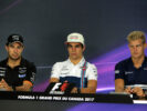 The FIA Press Conference (L to R): Sergio Perez (MEX) Sahara Force India F1; Lance Stroll (CDN) Williams; Marcus Ericsson (SWE) Sauber F1 Team. Canadian Grand Prix, Thursday 8th June 2017. Montreal, Canada.