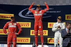 Podium 2017 Hungarian GP: 1. Vettel, 2. Raikkonen, 3. Bottas