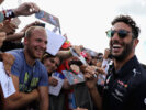 Daniel Ricciardo with fans at the drivers autograph signing session during previews ahead of the Formula One Grand Prix of Hungary at Hungaroring on July 27, 2017 in Budapest, Hungary.