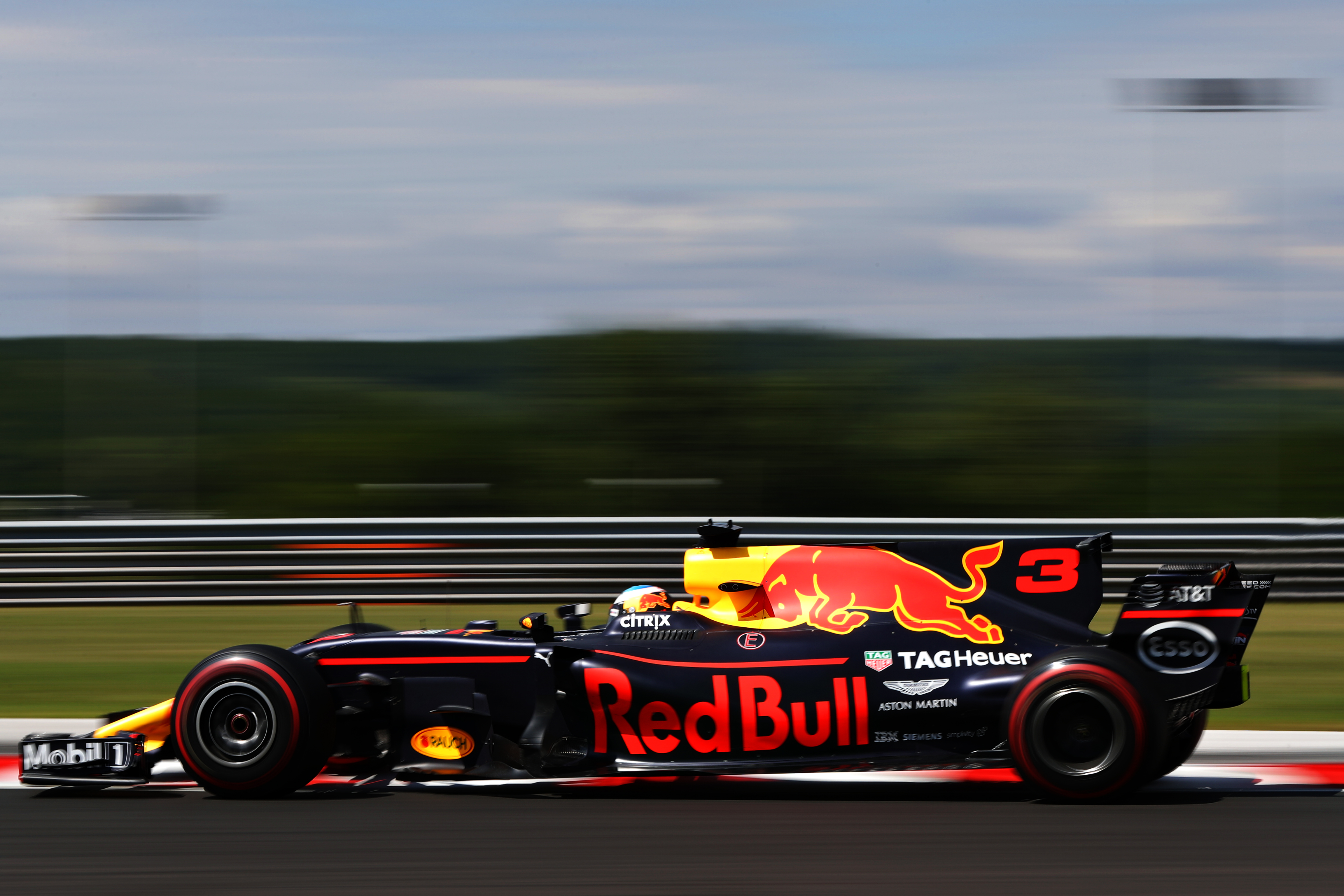 Daniel Ricciardo driving the Red Bull RB13on track during 20`6 Hungarian GP practice