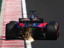 Sparks fly behind Daniil Kvyat of Russia driving the (26) Scuderia Toro Rosso STR12 on track during final practice for the Formula One Grand Prix of Hungary at Hungaroring on July 29, 2017 in Budapest, Hungary.