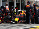 Max Verstappen of the Netherlands driving the (33) Red Bull Racing Red Bull-TAG Heuer RB13 TAG Heuer makes a pit stop for new tyres during the Formula One Grand Prix of Hungary at Hungaroring on July 30, 2017 in Budapest, Hungary.