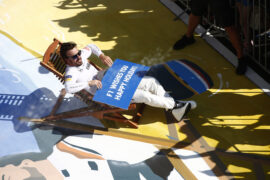 Hungaroring, Budapest, Hungary. . Sunday 30 July 2017. Fernando Alonso, McLaren, relaxes in a deck chair in parc ferme after finishing sixth.