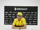 Robert Kubica (POL) Renault Sport F1 Team Test Driver with the media. Formula One Testing. Wednesday 2nd August 2017. Budapest, Hungary.