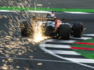 Silverstone, Northamptonshire, UK. Saturday 15 July 2017. Sparks fly from the rear of Fernando Alonso, McLaren MCL32 Honda.