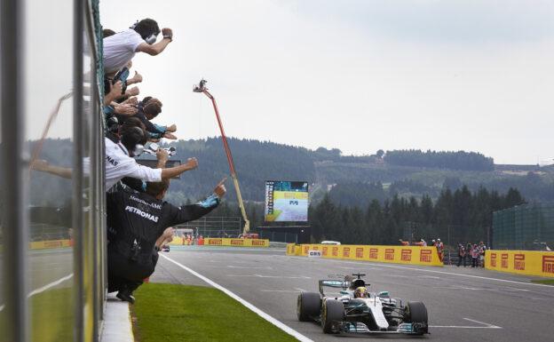 Lewis Hamilton wins the 2017 Belgian GP