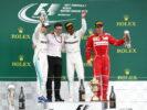 Formula One - Mercedes-AMG Petronas Motorsport, British GP 2017. Lewis Hamilton, Valtteri Bottas & Kimi Raikkonen of Ferrari.