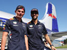 Daniel Ricciardo of Australia and Red Bull Racing and Max Verstappen of Netherlands and Red Bull Racing arrive at the Red Bull Racing Puck Off event during previews ahead of the Formula One Grand Prix of Austria at Red Bull Ring on July 5, 2017 in Spielberg, Austria.