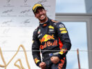Daniel Ricciardo of Australia and Red Bull Racing celebrates finishing in third place on the podium during the Formula One Grand Prix of Austria at Red Bull Ring on July 9, 2017 in Spielberg, Austria.