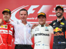 Top three finishers Valtteri Bottas of Finland and Mercedes GP, Sebastian Vettel of Germany and Ferrari and Daniel Ricciardo of Australia and Red Bull Racing on the podium during the Formula One Grand Prix of Austria at Red Bull Ring on July 9, 2017 in Spielberg, Austria.