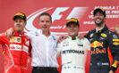 Top three finishers Valtteri Bottas of Finland and Mercedes GP, Sebastian Vettel of Germany and Ferrari and Daniel Ricciardo of Australia and Red Bull Racing on the podium during the Formula One Grand Prix of Austria at Red Bull Ring on July 9, 2017 in Spielberg, Austria.