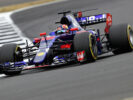 Daniil Kvyat of Russia driving the (26) Scuderia Toro Rosso STR12 on track during practice for the Formula One Grand Prix of Great Britain at Silverstone on July 14, 2017 in Northampton, England.