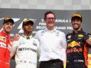 Winners Belgian GP F1/2017 Lewis Hamilton - Sebastian Vettel & Daniel Ricciardo