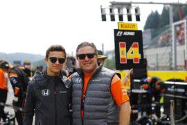 Spa Francorchamps, Belgium. Sunday 27 August 2017. Lando Norris, Development Driver, McLaren, with Zak Brown, Executive Director, McLaren Technology Group.