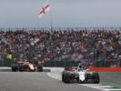 Silverstone, Northamptonshire, UK. Sunday 16 July 2017. Lance Stroll, Williams FW40 Mercedes, leads Fernando Alonso, McLaren MCL32 Honda.