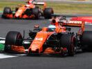 Silverstone, Northamptonshire, UK. Friday 14 July 2017. Fernando Alonso, McLaren MCL32 Honda, leads Stoffel Vandoorne, McLaren MCL32 Honda.