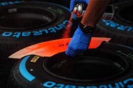 Pirelli tyres are marked at Formula One World Championship, Rd14, Singapore Grand Prix, Preparations, Marina Bay Street Circuit, Singapore, Thursday 14 September 2017.