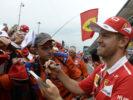 Sebastian Vettel Ferrari with fans Monza Italian GP F1/2017