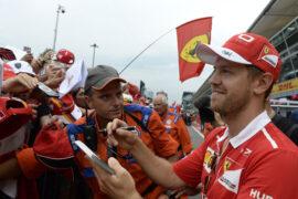 Sebastian Vettel Ferrari with fans Monza Italian GP Tickets