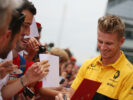 Nico Hulkenberg (GER) Renault Sport F1 Team signs autographs for the fans. Italian Grand Prix, Thursday 31st August 2017. Monza Italy.