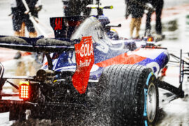 Autodromo Nazionale di Monza, Italy 2017 Water sprays from the rears of Carlos Sainz Jr, Toro Rosso STR12 Renault, in the pit lane.
