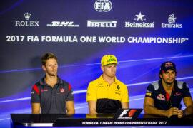 Romain Grosjean Haas, Nico Hulkenberg Renault & Carlos Sainz Toro Roso Italian GP F1 2017
