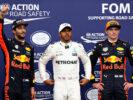Daniel Ricciardo - Lewis Hamilton - Max Verstappen on podium qaulifying Monza Italian GP F1/2017