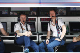 Sepang International Circuit, Sepang, Malaysia. Friday 29 September 2017. Paddy Lowe, Chief Technical Officer, Williams Martini Racing Formula 1, and Rob Smedley, Head of Vehicle Performance, Williams Martini Racing, on the pit wall.